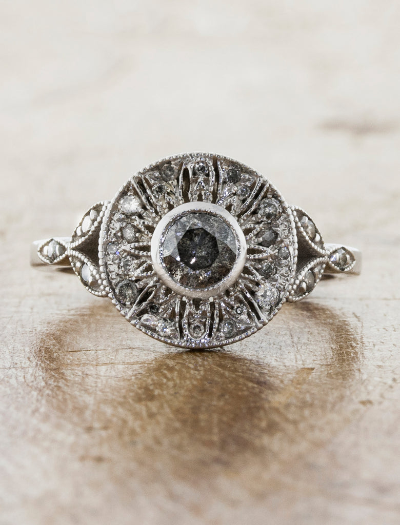 Vintage Inspired Halo Rough Grey Diamond Engagement Ring caption: 14k white gold with rough grey diamonds