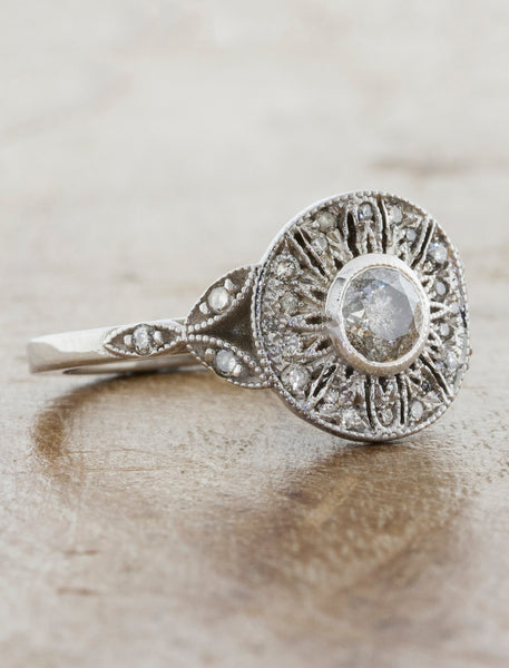 Vintage Inspired Halo Rough Grey Diamond Engagement Ring