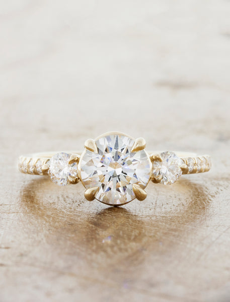 Multi-Stone Vintage Inspired Engagement Ring. caption:1.00ct. Round Diamond 14k Yellow Gold