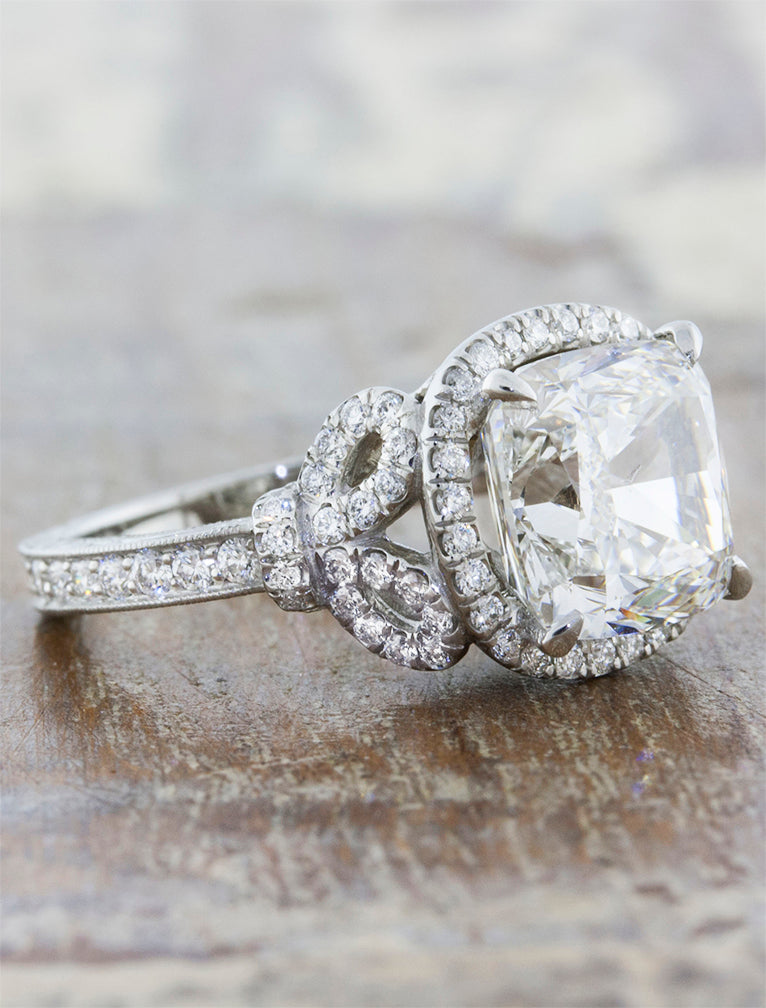 Marigold Bow Detail Halo Cushion Cut Diamond Ring
