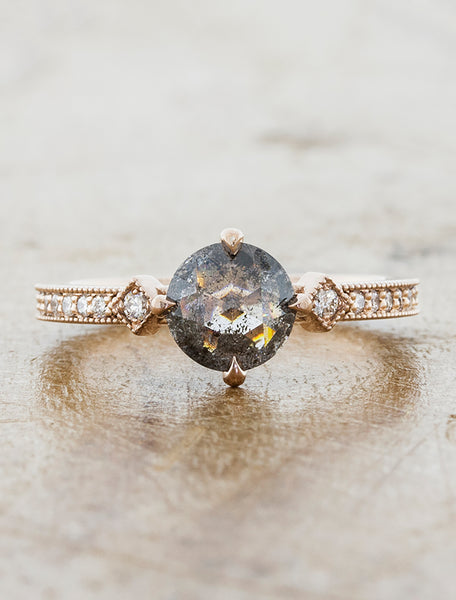 Rose Gold Fancy Grey rose cut Charleen engagement ring caption:0.93ct. Round Rustic Grey Diamond 14k Rose Gold