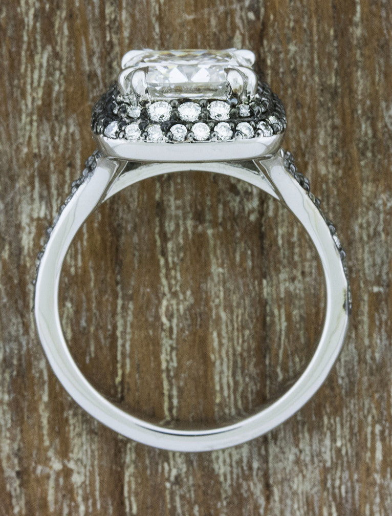 double halo, cushion cut diamond engagement ring with black rhodium accents - top view