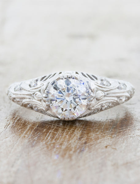Vintage-Inspired Hand Engraved Engagement Ring