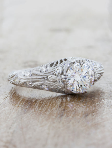 Vintage-Inspired Hand Engraved Engagement Ring - angle view