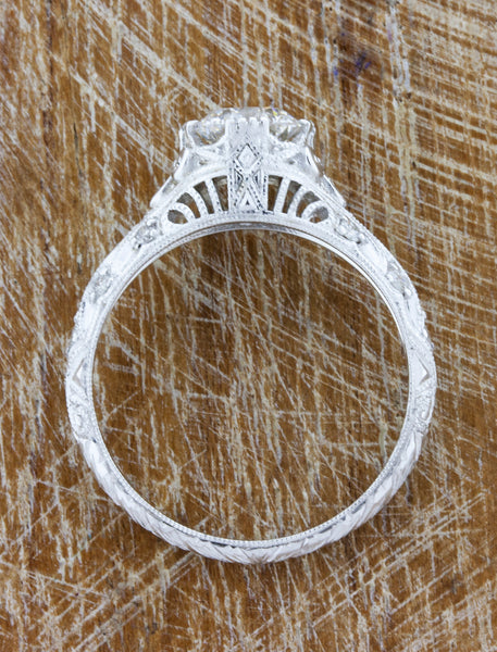 Vintage-Inspired Hand Engraved Engagement Ring - aerial view of setting