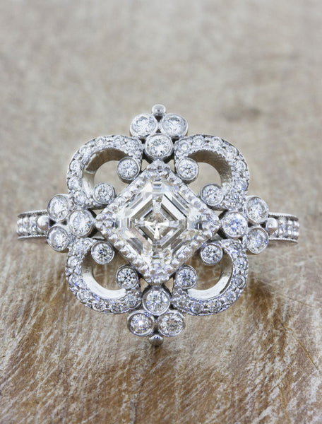 Vintage Inspired Asscher Cut Diamond Engagement Ring