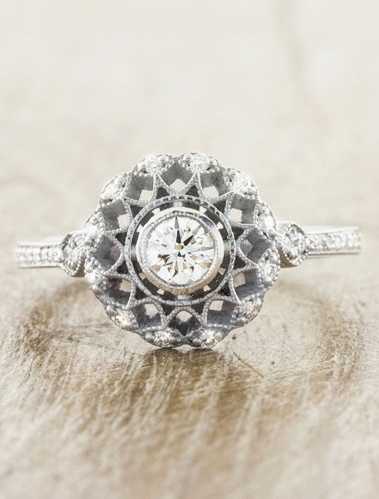 Vintage inspired collection caption:0.25ct. Round Diamond 14k White Gold
