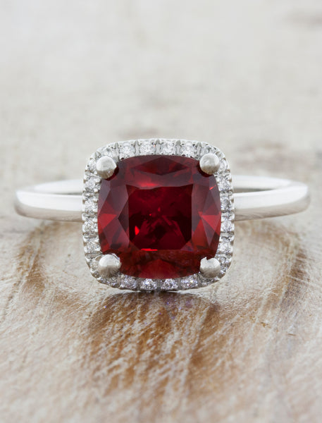 Cushion Cut Halo Ruby Engagement Ring