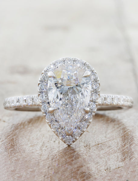 Halo engagement ring caption:1.70ct. Pear Shaped Diamond 14k White Gold