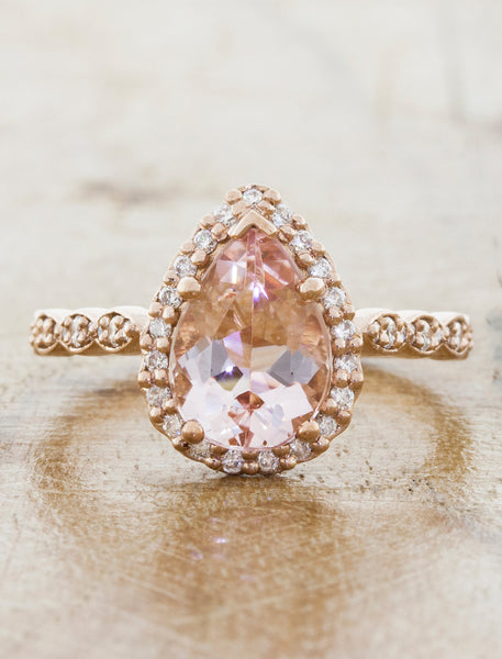 Halo Rose Gold  Morganite Engagement Ring caption:1.62ct. Pear Shape Morganite 14k Rose Gold