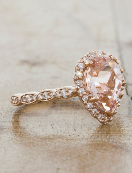 Halo Rose Gold  Morganite Engagement Ring