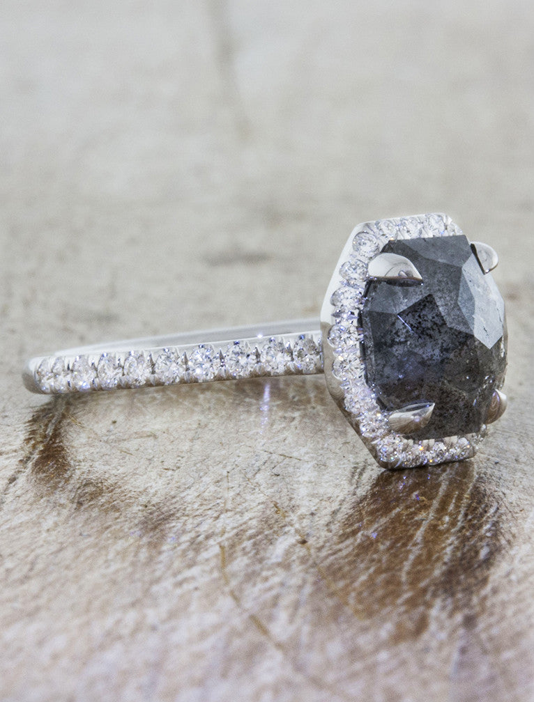 Rough Grey Diamond Halo Engagement Rings