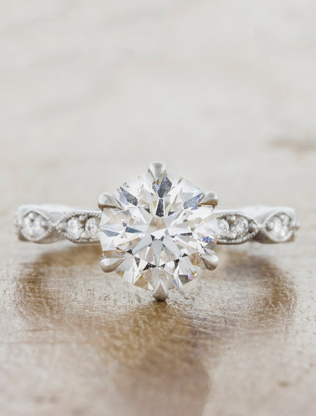Classic 1 carat diamond engagement Ring, Vintage Band caption:1.01ct Round Diamond in 14k White Gold