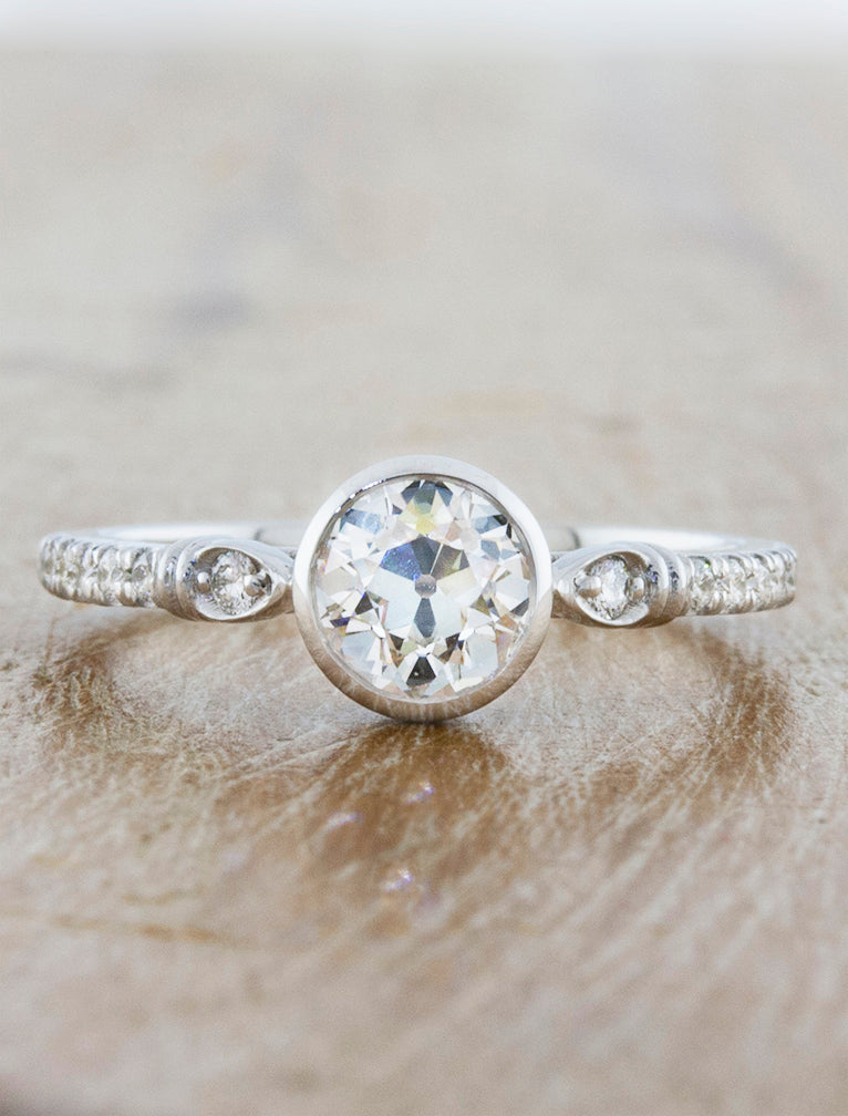 Unique vintage inspired Bezel set engagement ring