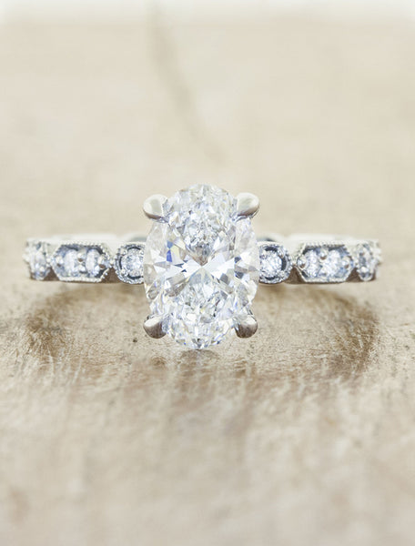 vintage inspired oval diamond ring