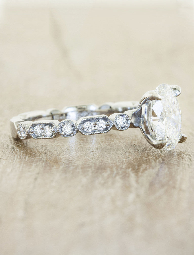 vintage inspired oval diamond engagement ring