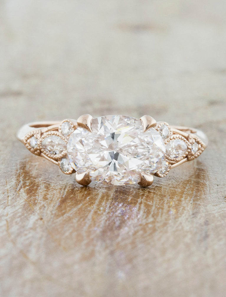 Lippy Rose Gold Oval Diamond Vintage Inspired Band Ken