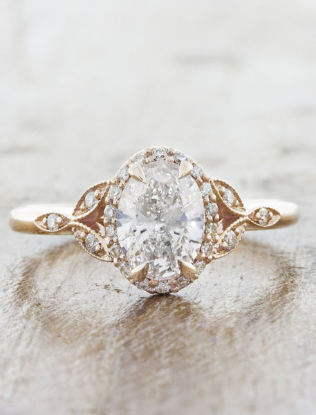 Rose gold vintage inspired engagement ring caption:0.77ct. Oval Diamond 14k Rose Gold