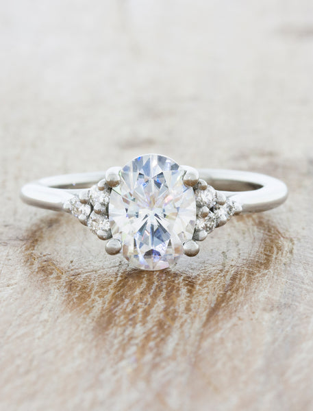 Oval Cut Diamond Ring with Diamond Accents
