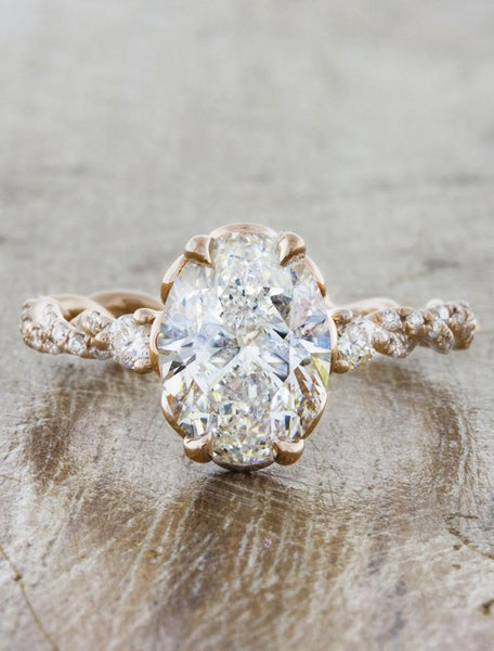 Vintage inspired engagement ring;caption:2.00ct. Oval Diamond 14k Rose Gold