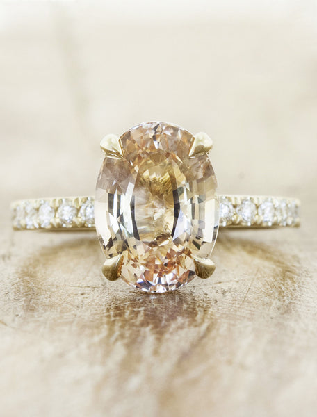 peach sapphire engagement ring with rose gold pave band;caption:1.85ct. Oval Sapphire 14k Yellow Gold