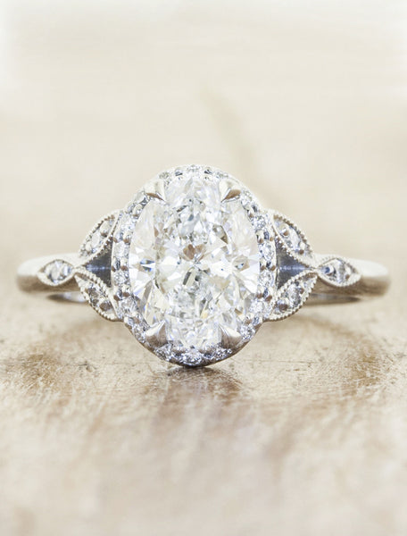 Vintage inspired engagement ring;caption:1.70ct. Oval Diamond Platinum