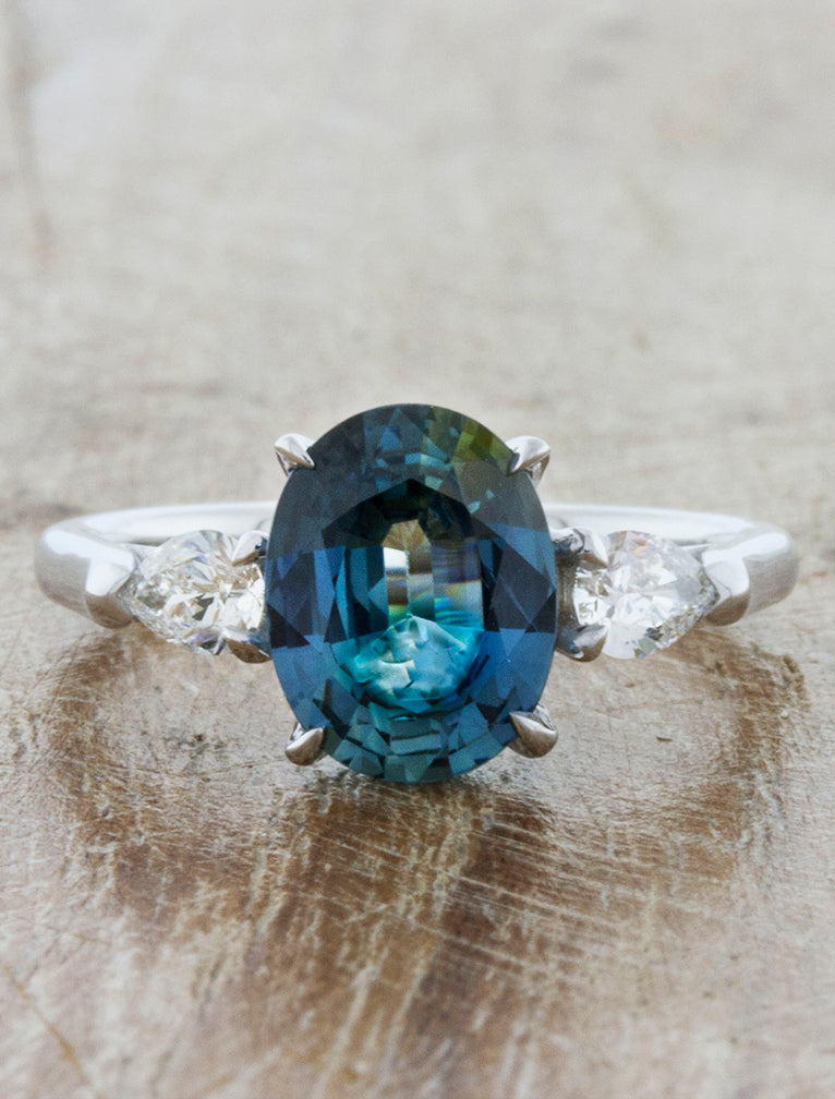 Permelia Oval Blue Green Sapphire Three Stone Ring Ken