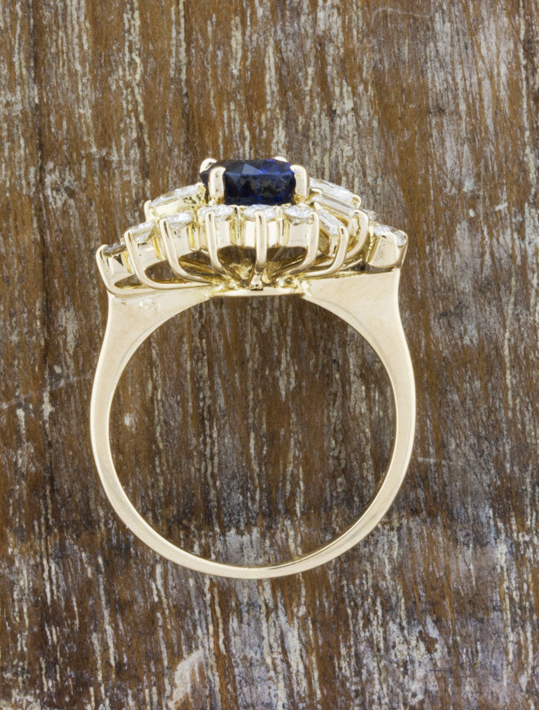 antique blue oval sapphire engagement ring