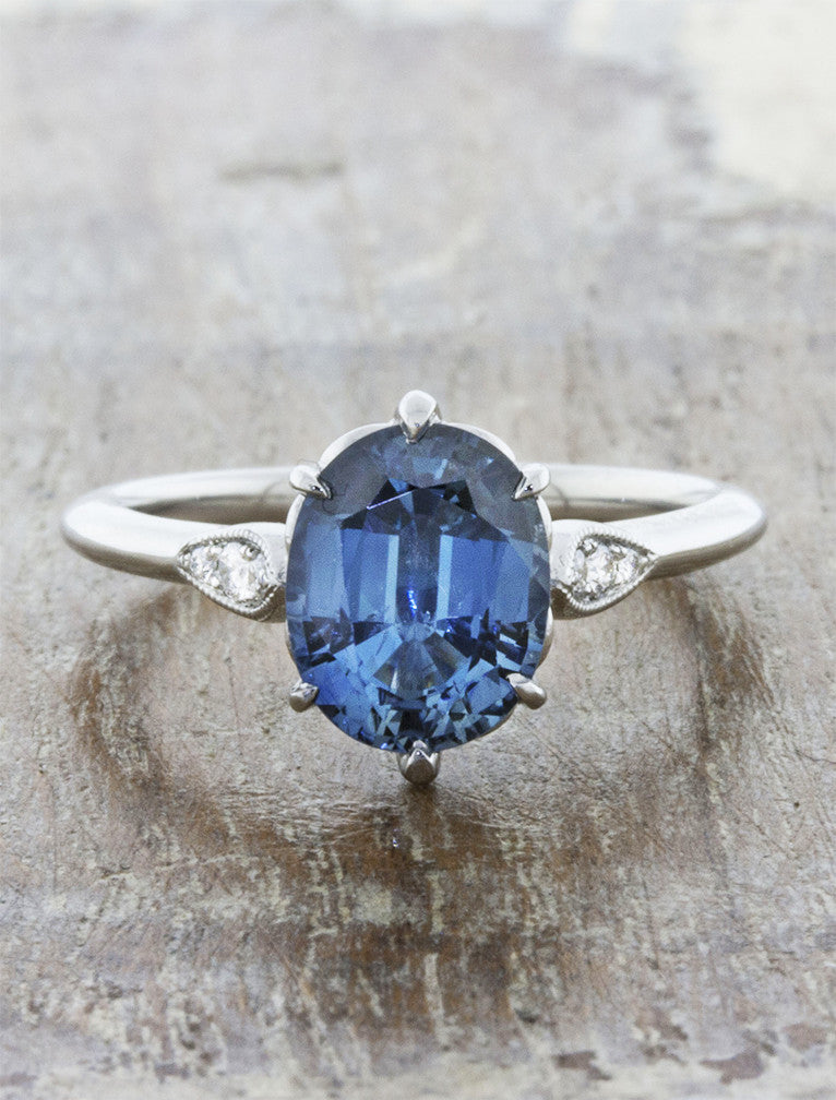 Rosanne Oval Three Stone Blue Sapphire Engagement Ring