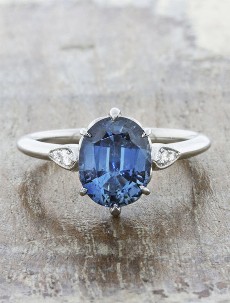 vintage inspired oval sapphire engagement ring