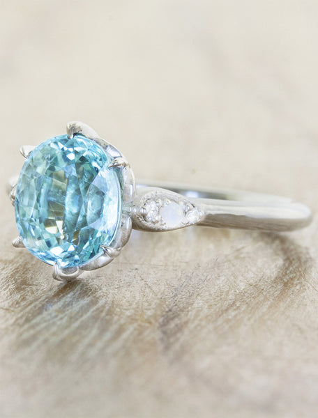 oval cut paraiba engagement ring - ocean blue