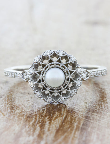 Cordelia Antique Inspired Filigree Engagement Ring Ken Dana Design