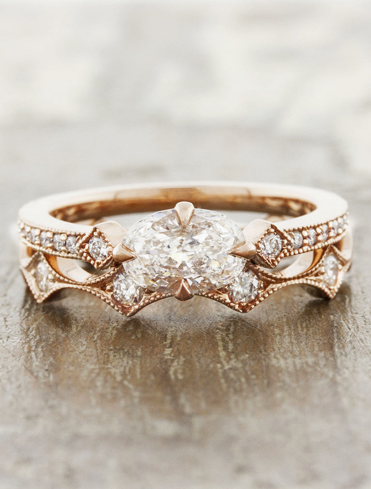 unique scalloped rose gold & diamond wedding band paired with engagement ring