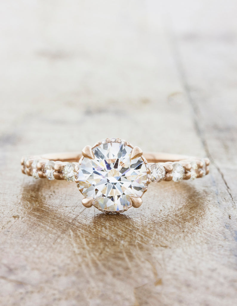 Rose Gold Round Diamond Ring, Vintage-Inspired