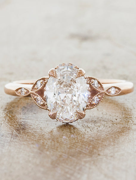 Caption:Shown in 14k rose gold, with a 1.22ct oval diamond