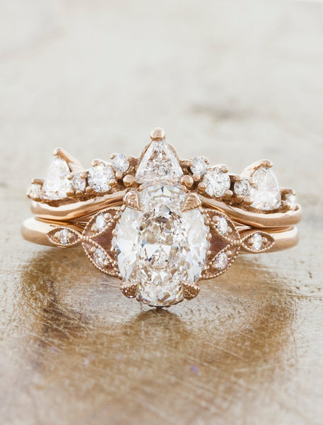 Caption:1.22ct Oval Diamond Halo Rose Gold Engagement Ring