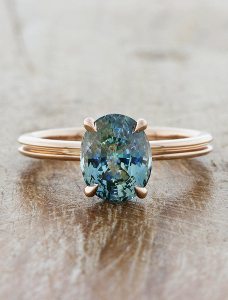Unique engagement ring double band;caption:1.70ct. Oval Sapphire 14k Rose Gold