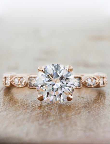 Vintage inspired designs;caption:1.00ct. Round Diamond 14k Rose Gold