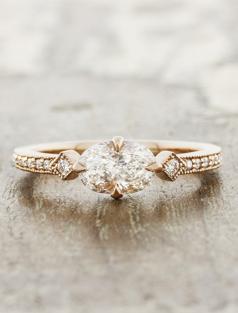 Vintage inspired setting;caption:0.55ct. Oval Diamond 14k Rose Gold