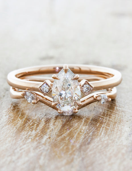 Pear Diamond Ring in Rose Gold;caption:0.75ct. Pear Diamond 14k Rose Gold paired with Winter wedding band