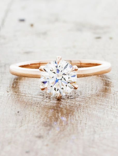 caption:Shown with 1ct diamond, with custom 6 prong basket. 14k rose gold