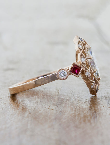 Vintage Inspired Marquis Diamond Ruby Engagement Ring