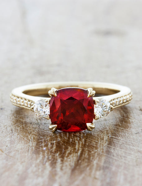 Three-Stone Ruby Ring with Pave