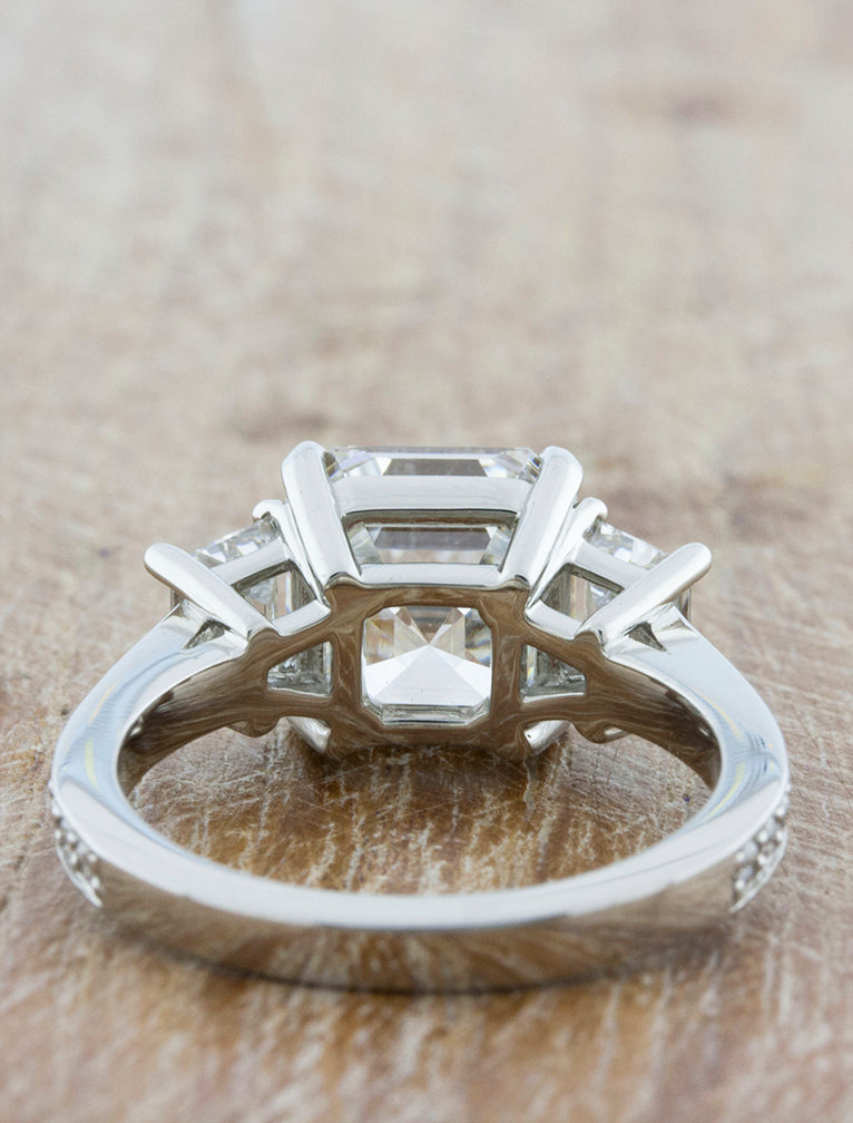 Classic Three Stone Asscher Cut Diamond Ring