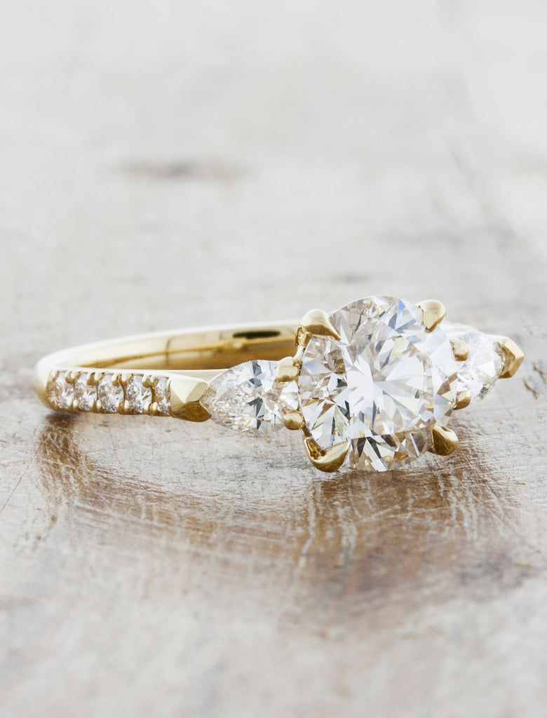 Three Stone Vintage Inspired Engagement Ring