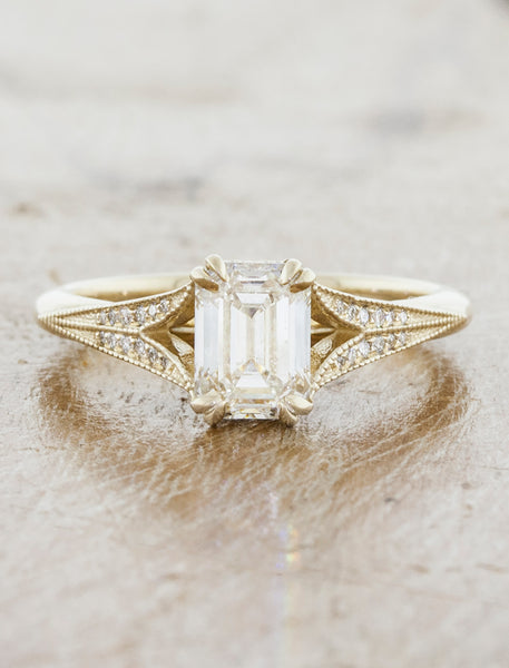 caption:Shown with an 1ct emerald cut diamond