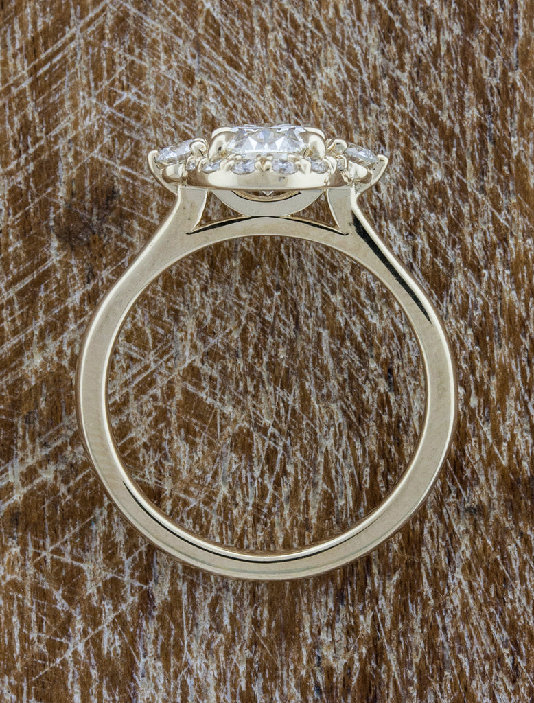 three stone, oval diamond vintage-inspired halo engagement ring - top view