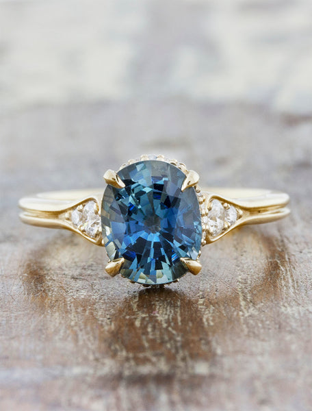 Oval Sapphire Engagement Ring, Intricate Yellow Gold Band