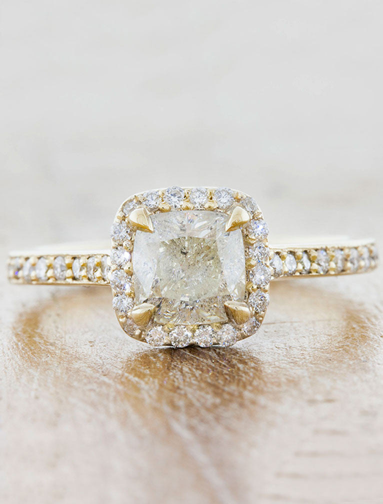 Cora Rough Rough Diamond Cushion Cut Halo Engagement Ring