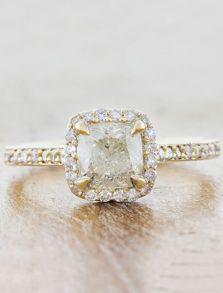 Rough White Diamond Halo Engagement Rings in Yellow Gold caption:1.03ct. Rough Cushion Cut Diamond 14k Yellow Gold